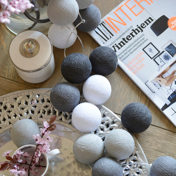 GIRLANDA ŚWIETLNA COTTON BALL GREY 20