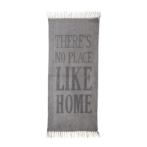 dywan There is no place like home w kolorze szarym vintage Bloomingville